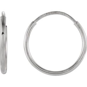 2 pcs 14K White 12mm Endless Hoop Earrings